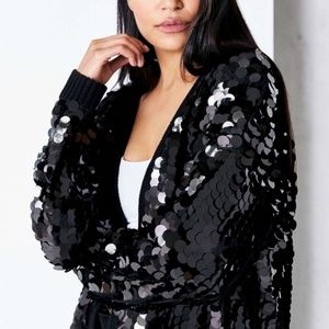Urban Outfitters Black Sequin Cardigan
